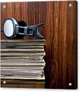 Headphones Laying On Stack Of Vinyl Acrylic Print