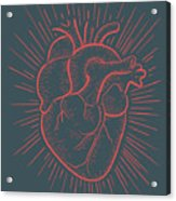 Heart On Red Acrylic Print