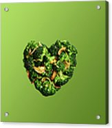 Heart Shaped Broccoli On Green Acrylic Print