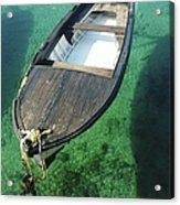 High Angle View Of Boat Moored On Sea Acrylic Print