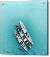High Angle View Of Ship Moored On Sea Acrylic Print
