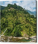 Himalya Hills Rope Bridge Canyon Acrylic Print