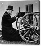 Hiram Maxim Firing His Maxim Machine Gun - 1884 Acrylic Print