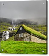Historic Stone House With Turf Roof On Acrylic Print
