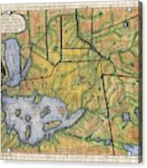 Historical Map Hand Painted Lake Superior Norhern Minnesota Boundary Waters Captain Carver Acrylic Print