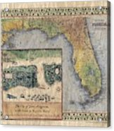 Historical Map Hand Painted St. Augustine Acrylic Print
