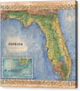 Historical Map Hand Painted Vintage Florida Colton Acrylic Print
