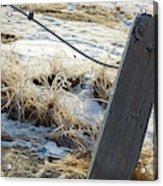 Hoar Frost On A Fence Along Turnagain Arm On The Seward Highway Alaska Acrylic Print