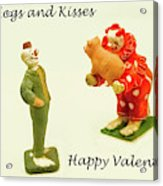 Hogs And Kisses Clown Valentines Acrylic Print