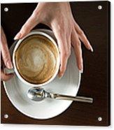 Holding Cappuccino Acrylic Print