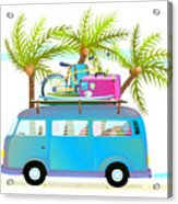 Holiday Summer Trip Bus For Beach Acrylic Print