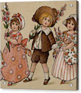 Hollyhocks, Victorian Card Acrylic Print