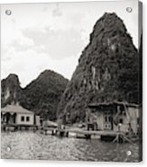 Homes On Ha Long Bay Boat People  Acrylic Print