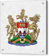 Hong Kong - 1959-1997 Coat Of Arms Over White Leather  Acrylic Print