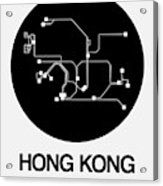 Hong Kong Black Subway Map Acrylic Print