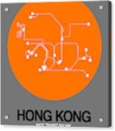 Hong Kong Orange Subway Map Acrylic Print