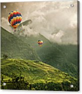 Hot Air Balloons Over Tea Plantations Acrylic Print