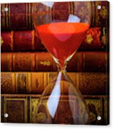 Hourglass And Old Books Acrylic Print