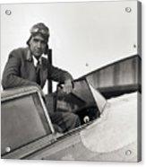 Howard Hughes Posing In Plane Cockpit Acrylic Print
