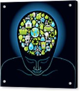 Human Head With Ecological Symbols In Acrylic Print