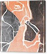 I Was Born In A Mine Woodcut 75 Acrylic Print