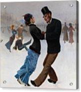 Ice Skaters, C. 1920. Artist Klinger Acrylic Print