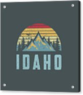 Idaho Retro Vintage Mountains Hiking Nature Hoodie Acrylic Print