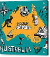 Illustrated Map Of Australia Acrylic Print