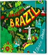 Illustrated Map Of Brazil Acrylic Print