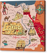 Illustrated Map Of Egypt Acrylic Print