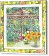 Illustrated Sunflower Picnic Acrylic Print