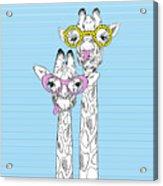 Illustration Of Giraffes In Funky Acrylic Print