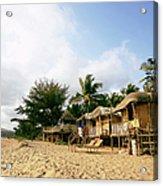 India, Goa, Beach Huts On Agonda Beach Acrylic Print