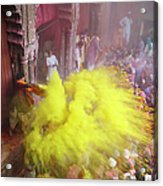 India, People In Front Of Temple During Acrylic Print