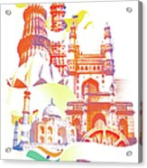 Indian Monuments Collage Acrylic Print