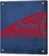 Indian Motorcycle Old Vintage Logo Blue Background Acrylic Print