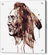 Indian Warrior Sepia Tones Acrylic Print