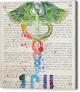 Intensive Care Unit Gift Idea With Caduceus Illustration 03 Acrylic Print