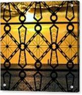 Iron Lattice Pattern St Malo Sunset Acrylic Print