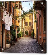 Italian Old Town Trastevere In Rome Acrylic Print