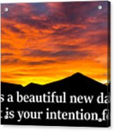 It's A Beautiful Day  What Is Your Intention For It Acrylic Print
