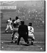 Jackie Robinson At Bat Against Pitcher Acrylic Print