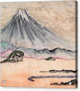 Japan Art And Mount Fuji - Suzuki Kiitsu In Color By Sawako Utsumi Acrylic Print