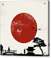 Japan Scenery Poster, Vector Acrylic Print