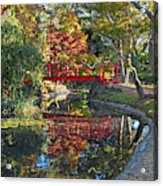 Japanese Garden Red Bridge Reflection Acrylic Print