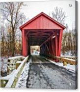 Jericho Covered Bridge Snow Acrylic Print