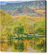 Jerome Reflected In Deadhorse Ranch Pond Acrylic Print