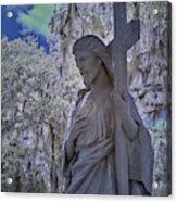 Jesus Graveyard Statue Acrylic Print