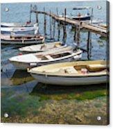 Jetty With Moored Boats.  Porec Acrylic Print