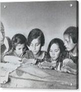 Jewish Teacher With Her Girl Students Acrylic Print